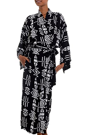 7684303c4d1 Amazon.com  NOVICA Black and White 100% Rayon Robe