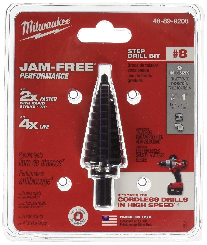 1//2-1 In. 9 Sizes Hss Milwaukee Step Drill Bit
