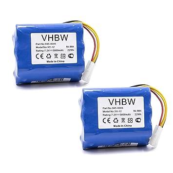 2X vhbw NiMH batería 3000mAh (7.2V) para Robot limpiasuelos Neato Signature Pro,
