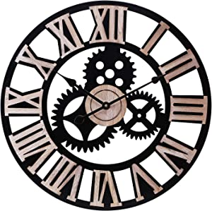 Infinity Time & Co Oversized Large Retro Industrial Steampunk Cog Noiseless Silent Metal Decor Gear Windmill Farmhouse Wall Clock with Raised Natural Wood 3D Roman Numberals (Matt Black,24Inch)