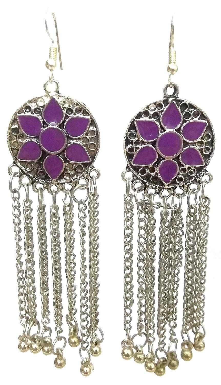 DESI HAWKER Silver Oxidized Earring Bali Jhumki Jhumka Jewelry Bollywood Drop Dangle Long NI-128