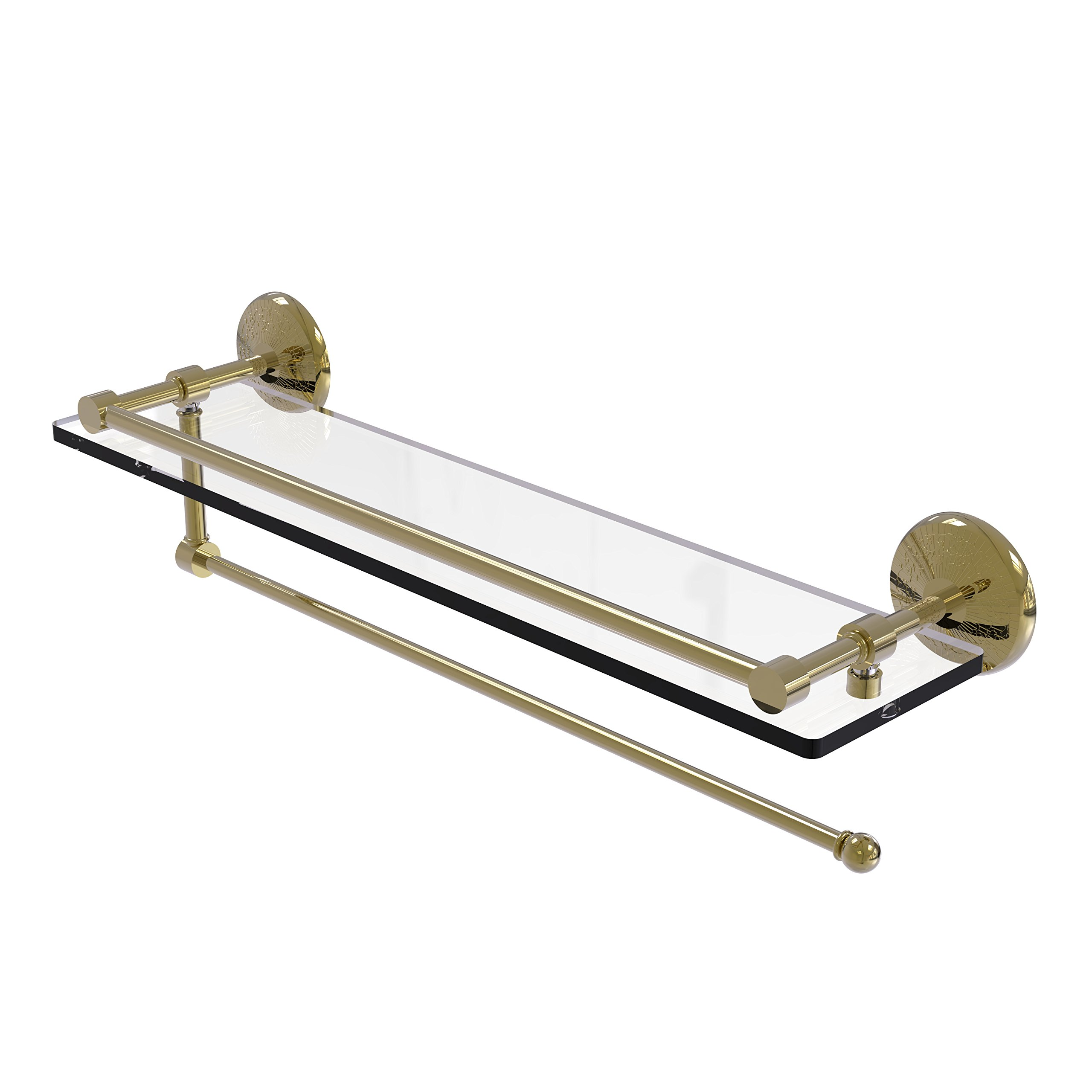 Allied Brass Prestige Monte Carlo Collection Paper Towel Holder with 22 Inch Gallery Glass Shelf PMC-1PT/22-GAL - Unlacquered Brass