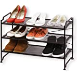 SimpleHouseware 3 Tier Stackable Shoe Shelves Utility Storage Rack Closet Organizer, Bronze