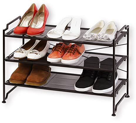 3 tier stackable shoe shelves utility storage rack closet organizer bronze