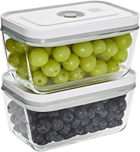 ZWILLING Fresh & Save Vacuum Sealer Glass Airtight Food Storage Containers with Lids 2-pc - Medium