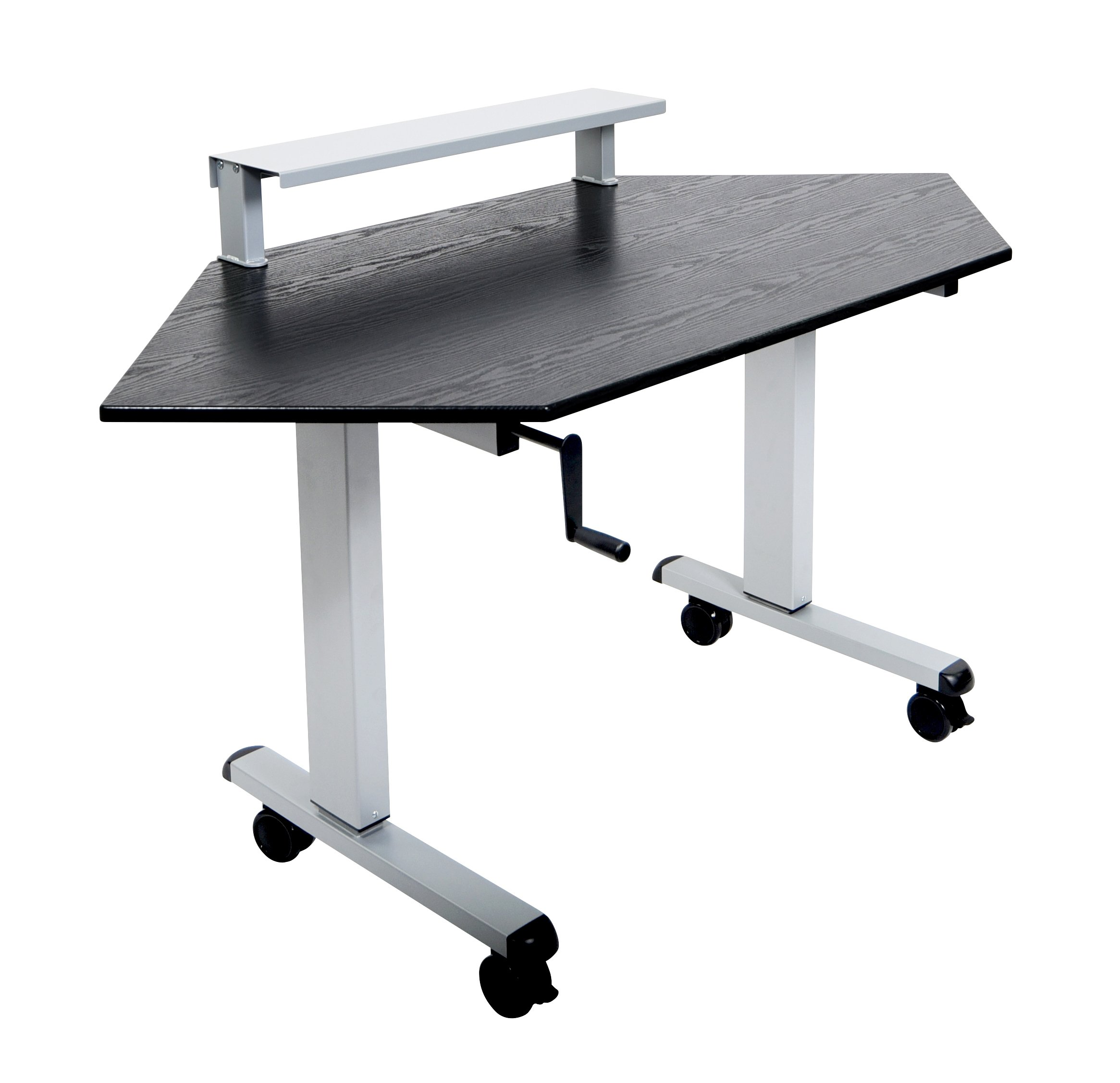 DMD Adjustable Standing Corner Desk, Sit or Standing Desk, Workstation with Shelf, Crank Handle