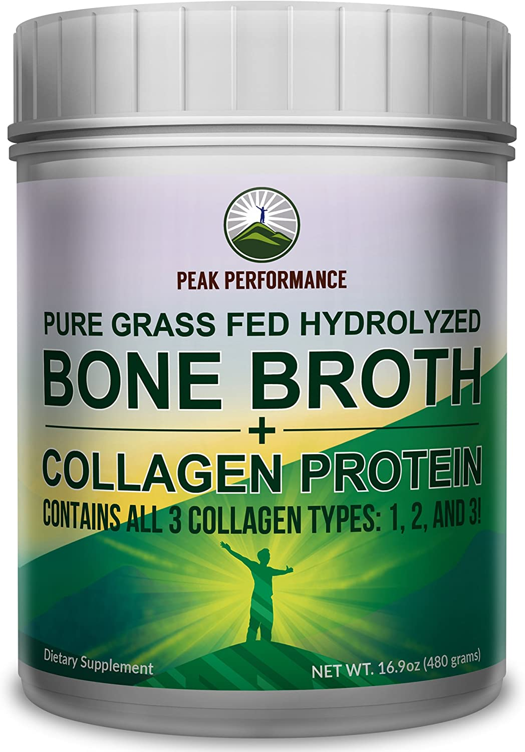 Hydrolyzed Bone Broth and Collagen Unflavored Protein Peptides Powder by Peak Performance. Contains All Collagen Types: 1, 2, and 3. Pure Pasture, Raised Grass Fed, Paleo Friendly, Gluten + Dairy Free