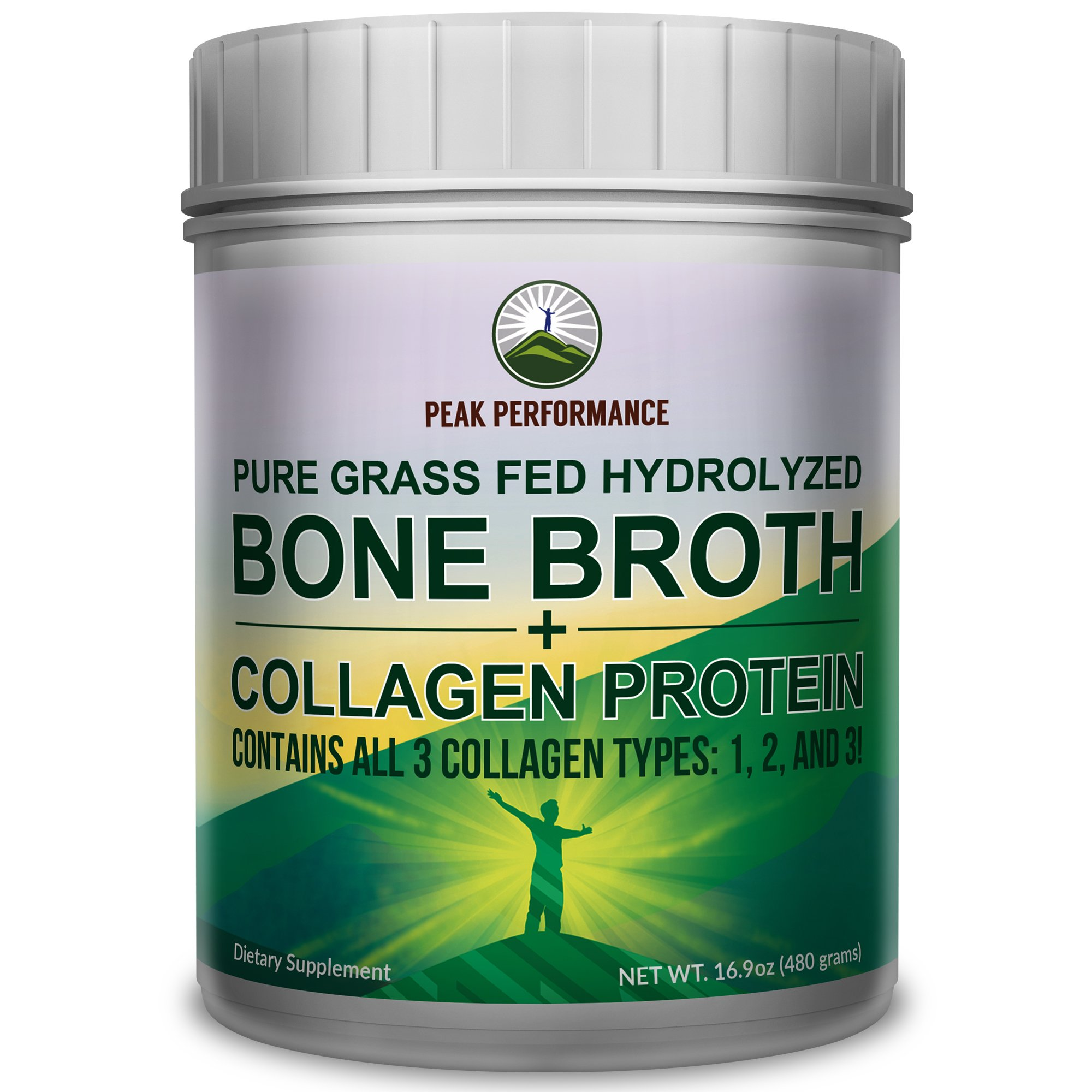 Hydrolyzed Bone Broth + Collagen Protein Peptides Powder By Peak Performance - Contains ALL 3 Collagen Types: 1, 2, and 3 | Pure Pasture, Raised Grass Fed, Paleo Friendly, Gluten & Dairy Free