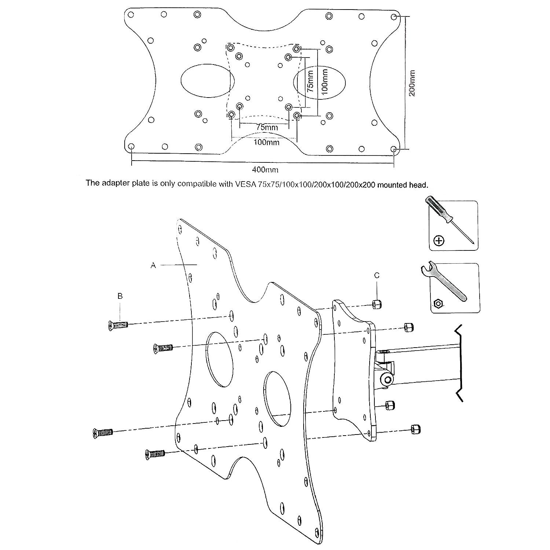 amazon 400x200 vesa mount adapter plate home audio theater 27 Inch Waist