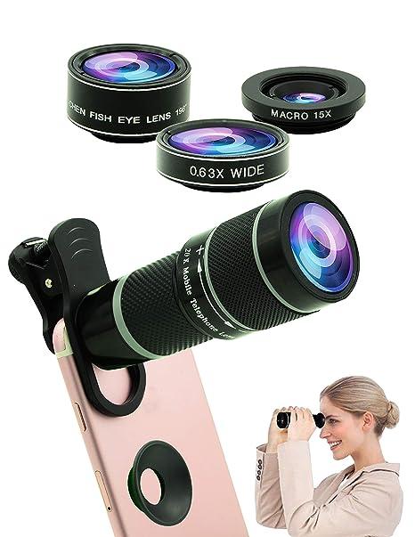 Cell Phone Camera Lens Kit,5 in 1 Lens Kit-High Power 20X Monocular  Telephoto Lens, Wide-Angle, Macro, fisheye, Eye mask, Telescope Mobile Zoom