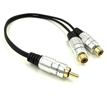 Maxhood Cable divisor RCA, 25 cm/10 en chapado en oro conector de 1