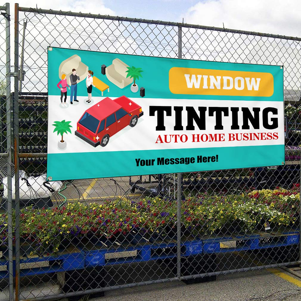 Custom Industrial Vinyl Banner Multiple Sizes Window Tinting Auto Home Business D Personalized Text Automotive Outdoor Weatherproof Yard Signs Teal 10 Grommets 60x120Inches