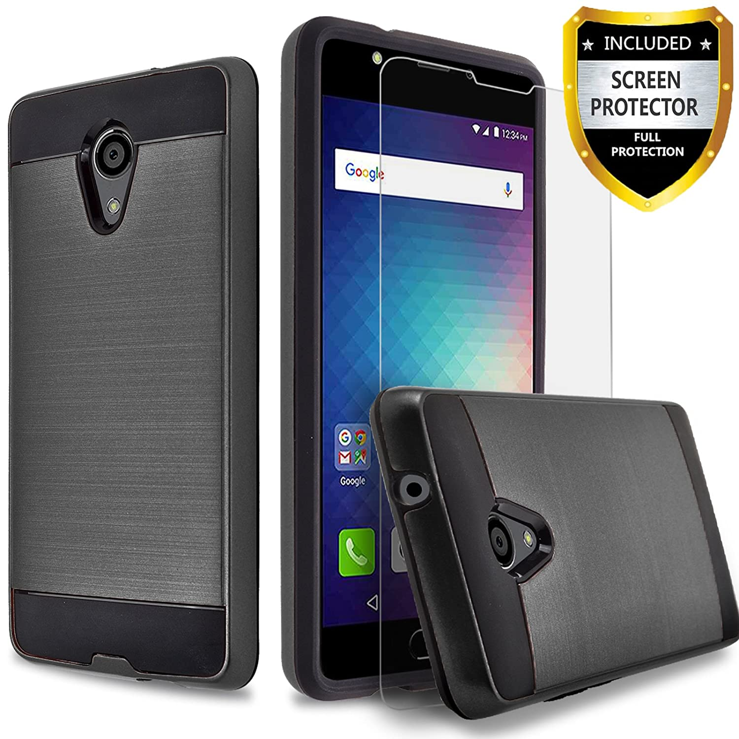 BLU Advance 5.5 HD Case, BLU Grand 5.5 HD Case, Circlemalls 2-Piece Style Hybrid Shockproof Hard Case Cover With [Premium Screen Protector] And Touch Screen Pen (Black)