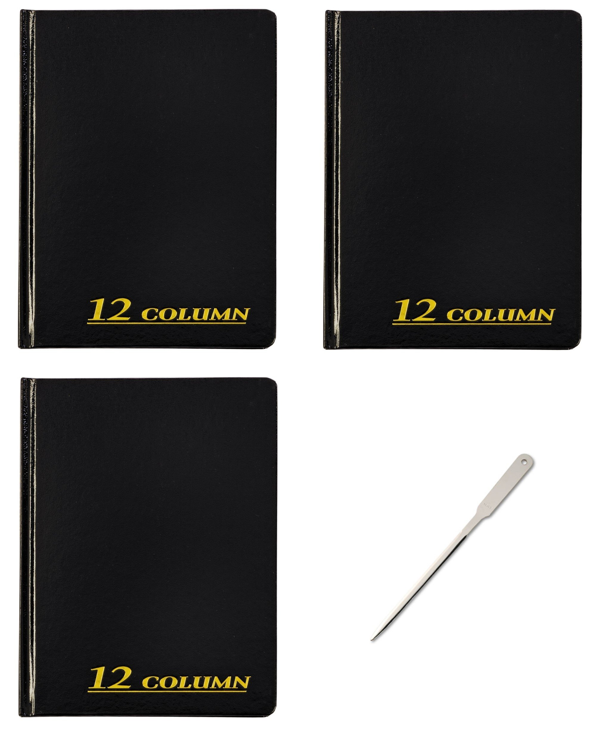 Adams Account Book, 12 Column, 7 x 9-1/4 inches, 80 Pages, 3 Books (ARB8012M) - Bundle Includes Universal Letter Opener (3 Pack Bundle)