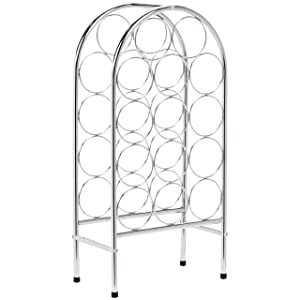 AmazonBasics Curved Wine Rack for 14 Bottles, Chrome