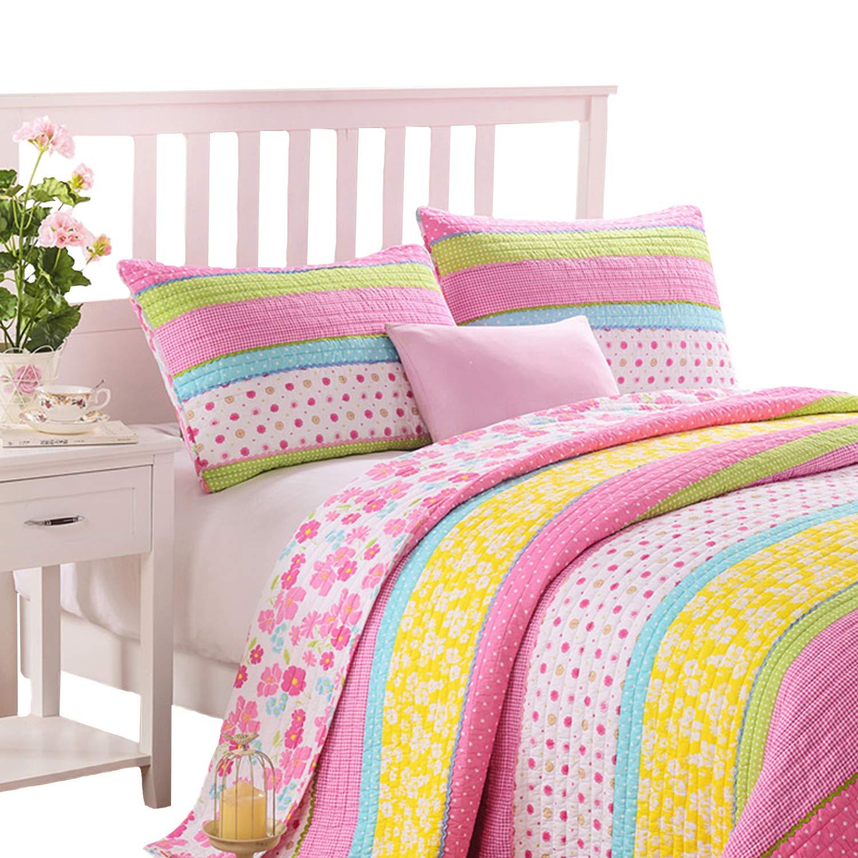 Brandream Pink Polka Dot Stripe Floral Quilt Set,Twin