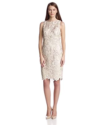 Adrianna Papell Women's Illusion Neckline Lace Dress