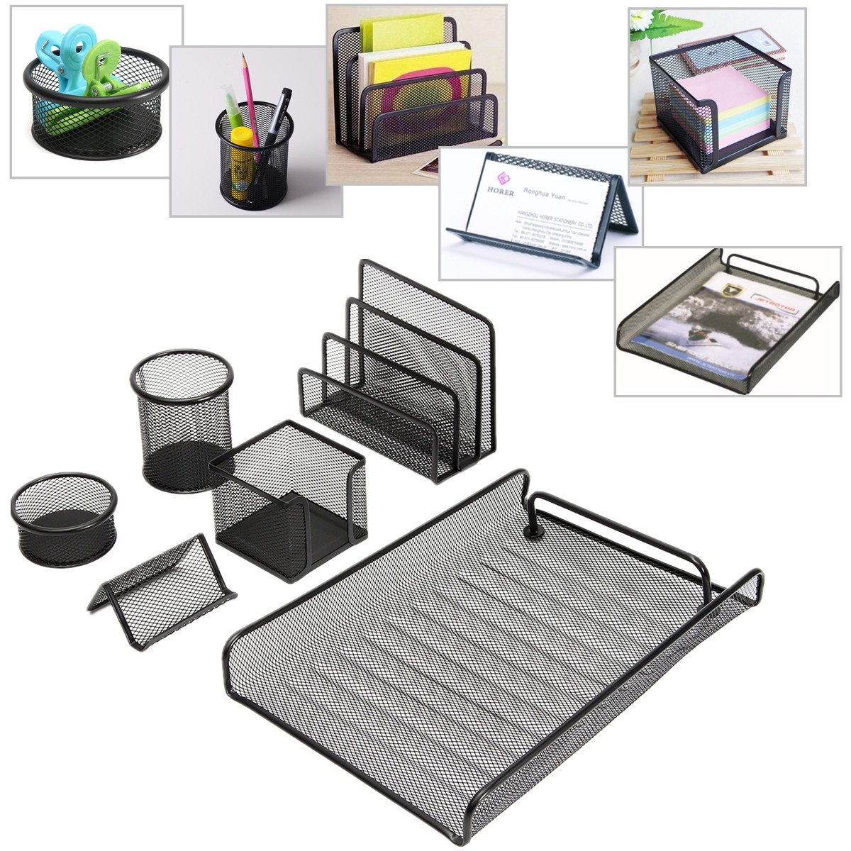 Caveen Desktop Organizer Office Supplies Office Documents Organizer Caddy (6 pcs),Pen Cup Document Tray Mail Sorter Business Card Holder Clip Cup Sticky Note Holder