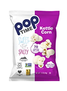 Poptime Kettle Cooked Popcorn - Sweet & Salty,1.5oz Bags (24 Pack), Non-GMO, Gluten Free, Dairy Free, Kosher, Whole Grain, Low Cholesterol