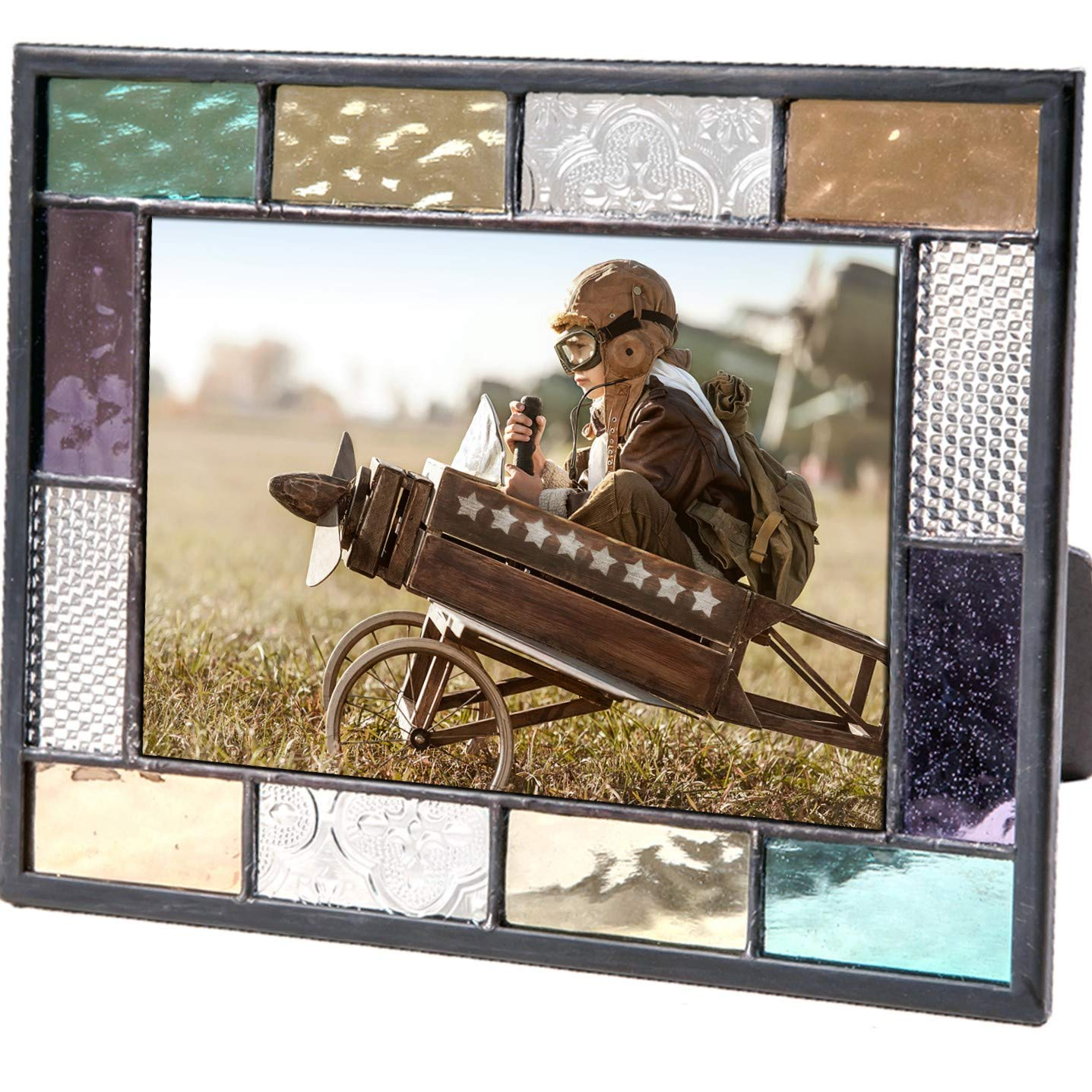Stained Glass Picture Frame 4x6 Photo Display Easel Back Colorful Home Decor Blue Green Purple Amber Clear Gift Men Women J Devlin Pic 386-46HV