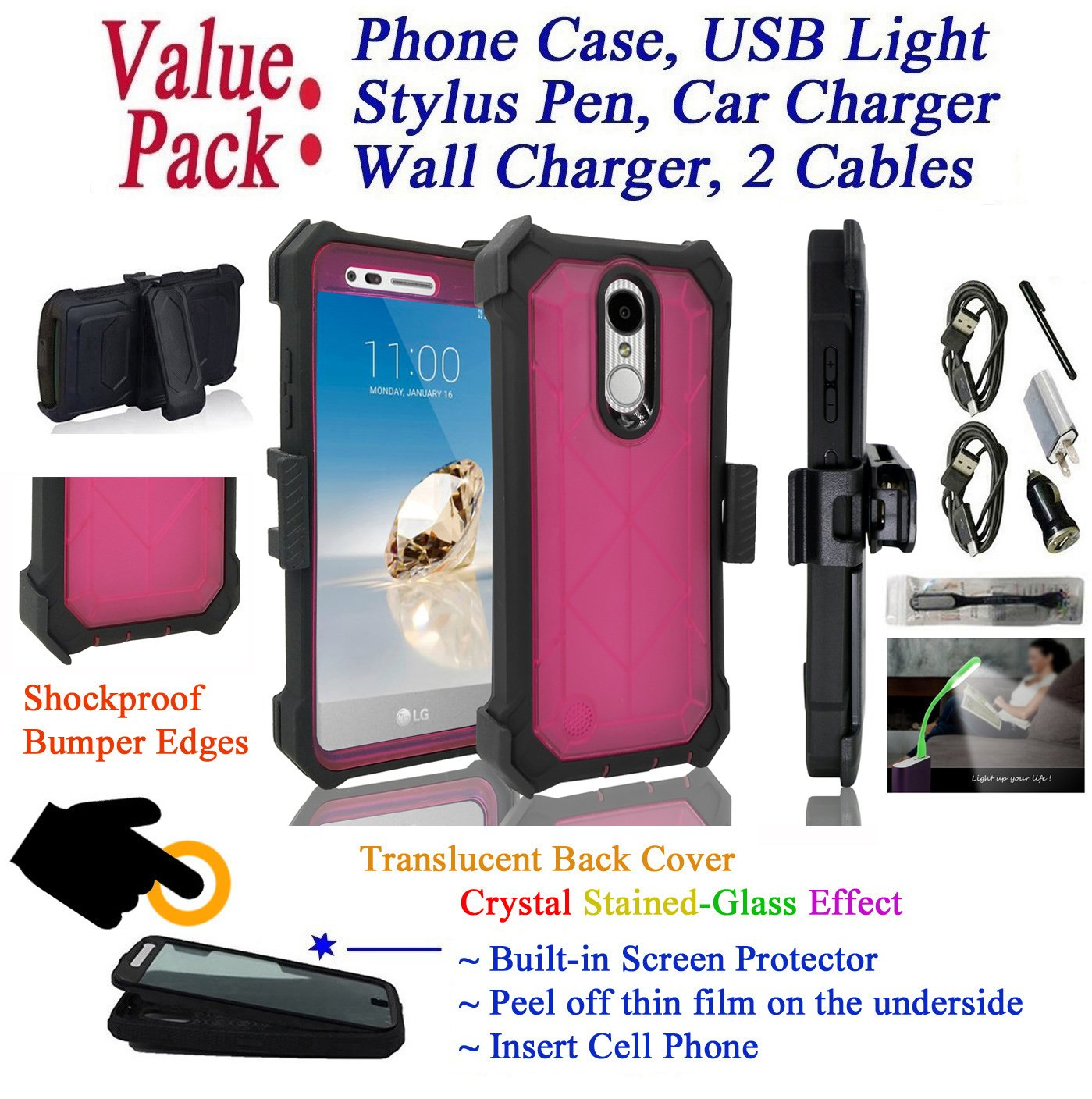 Value Pack for 5'' LG K8 2017 LG FORTUNE case Crystal Holster Clip Phone Case 360° Cover Screen Protector Kick stand Shock Bumper (Pink)