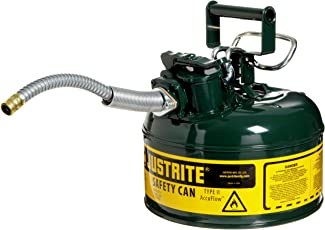 """Justrite 7210420 AccuFlow 1 Gallon, Galvanized Steel Type II Green Safety Can With 5/8"""" Flexible Spout"""