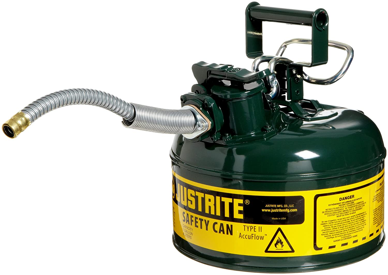 Justrite 7210420 AccuFlow 1 Gallon Galvanized Steel Type II Green Safety Can With 5//8 Flexible Spout
