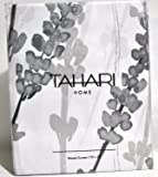 Tahari Luxury Cotton Blend Shower Curtain Printemps Floral Branches Charcoal Grey White Botanical Nature by Tahari Home