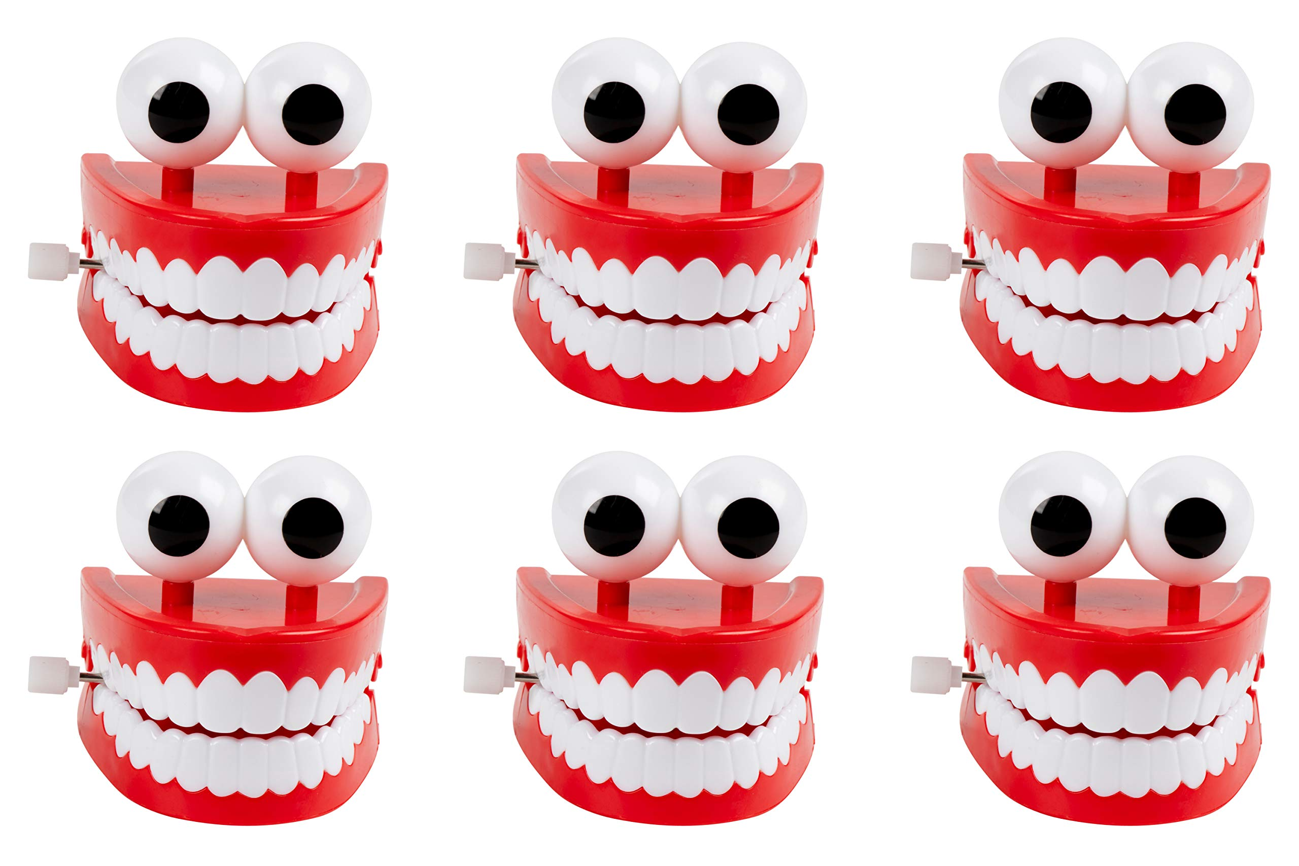Blue Panda Chomping Teeth - 6-Pack Wind-Up Chattering Teeth with Eyes, Walking Teeth Toy, Perfect Party Favors, Novelty Toys and Gag Gifts for Halloween, Kids Birthday Parties, 2.5 x 2.6 x 2.5 Inches by Blue Panda