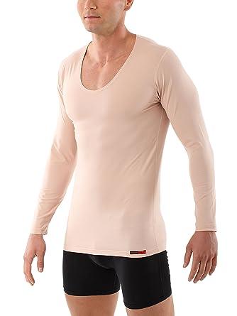 6cb2762d3c4a01 Albert Kreuz V-Unterhemd Unsichtbar Business Langarm-Herrenunterhemd aus  Stretch-Baumwolle Hautfarbe Nude  Amazon.de  Bekleidung