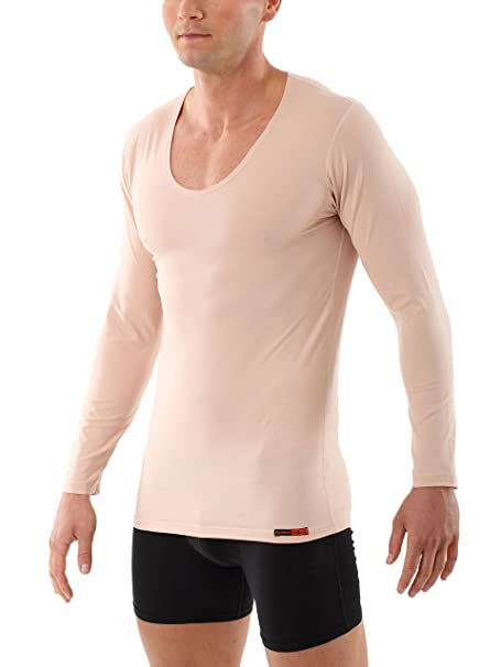 ALBERT KREUZ camiseta interior invisible color carne/piel / beis de manga larga con cuello