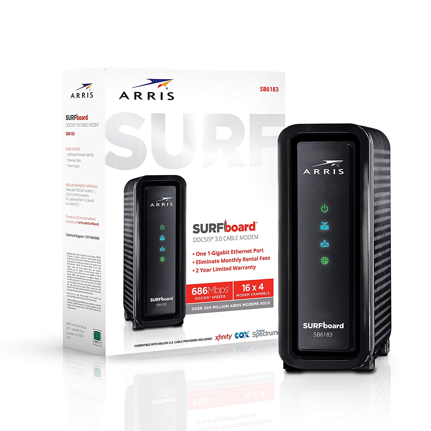 ARRIS SURFboard 16x4 SB6183 DOCSIS 3.0 Cable Modem- Retail Package- Black ARRIS Solutions Inc. SB6183 Black
