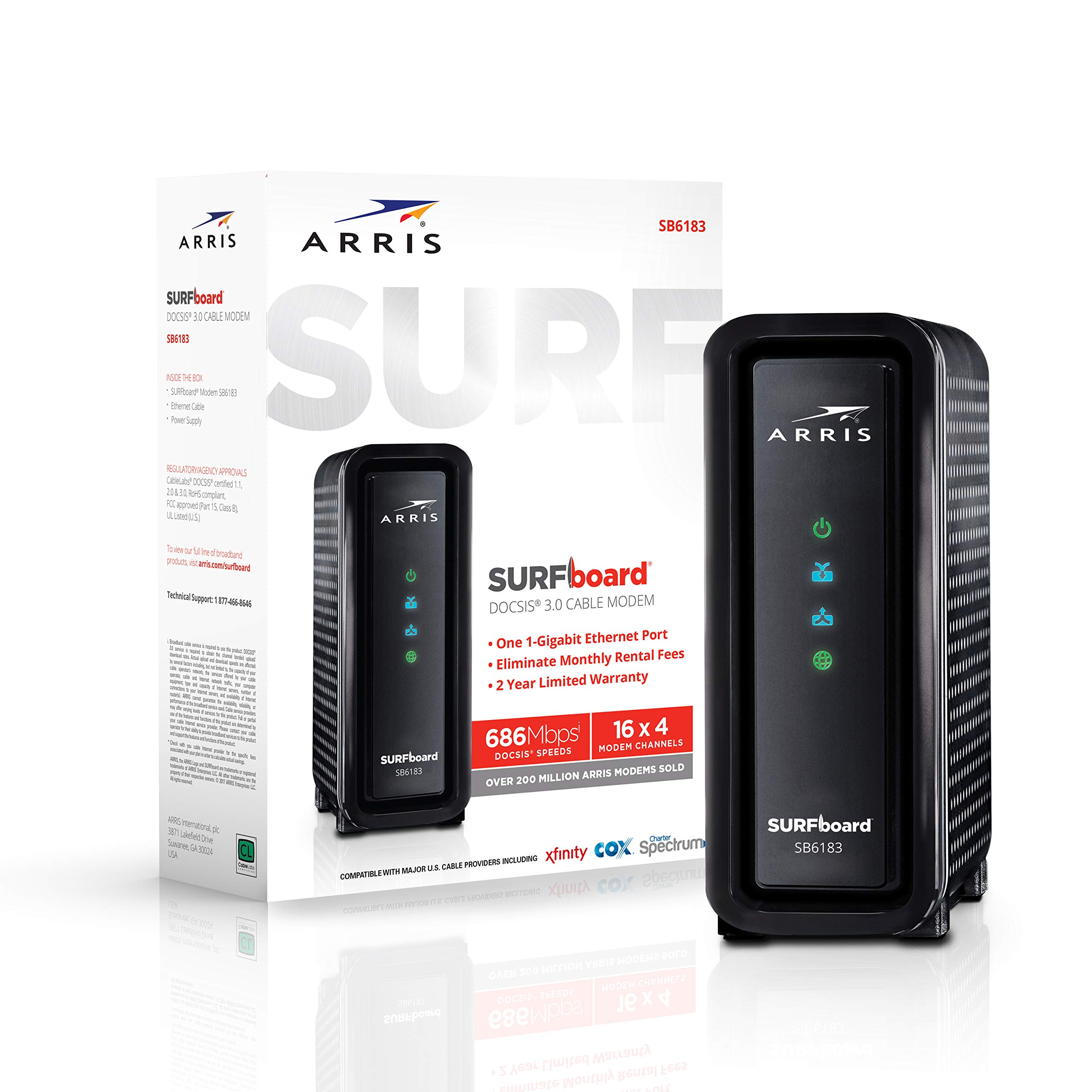 ARRIS SURFboard 16x4 SB6183 DOCSIS 3.0 Cable Modem- Retail Package- Black