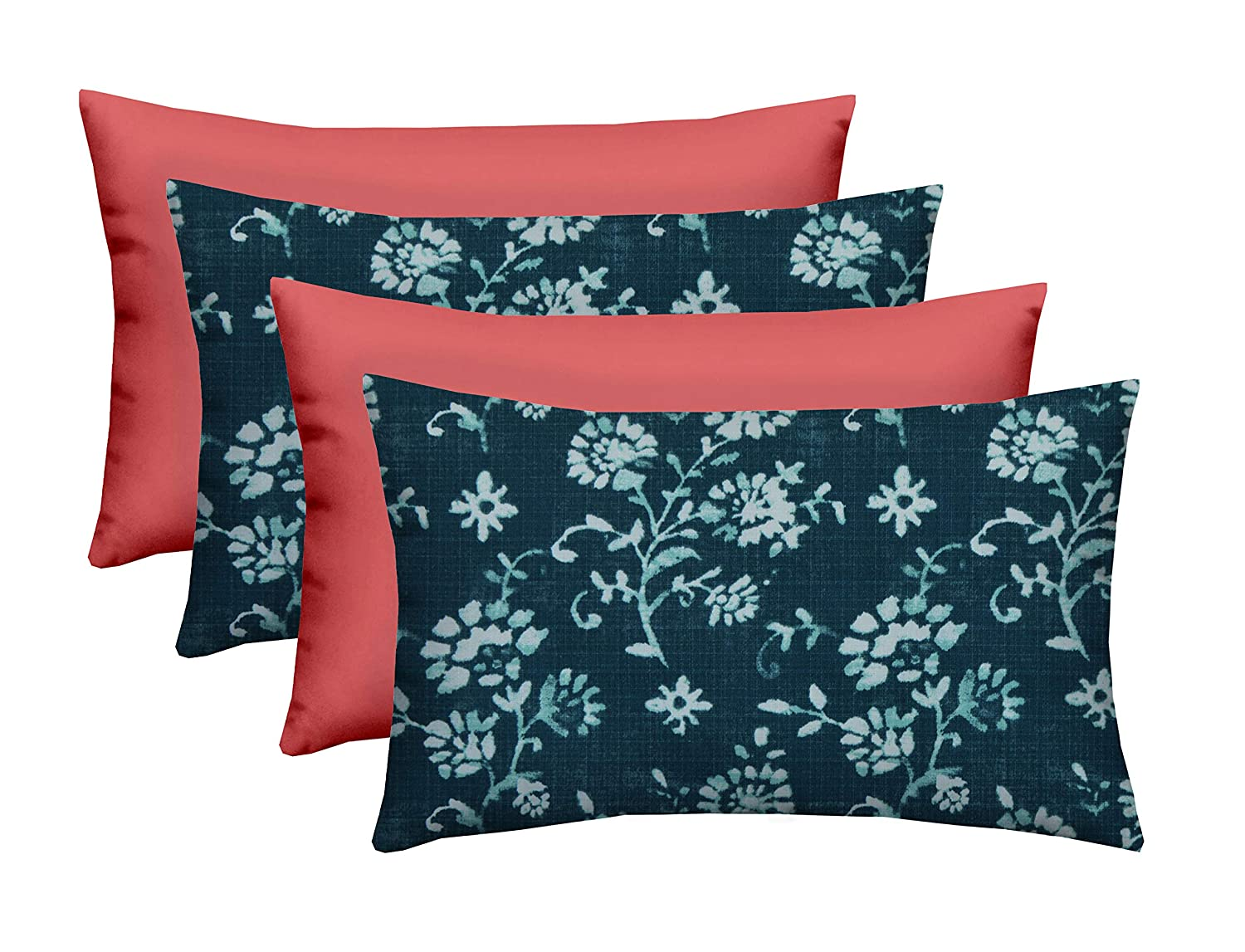 """Set of 4 - Indoor/Outdoor Rectangle Lumbar Decorative 20"""" x 12"""" Throw/Toss Pillows - Black and White Abstract Flower & Choose Color (Lenore Zaffre Navy Abstract Floral & Peony Pink)"""