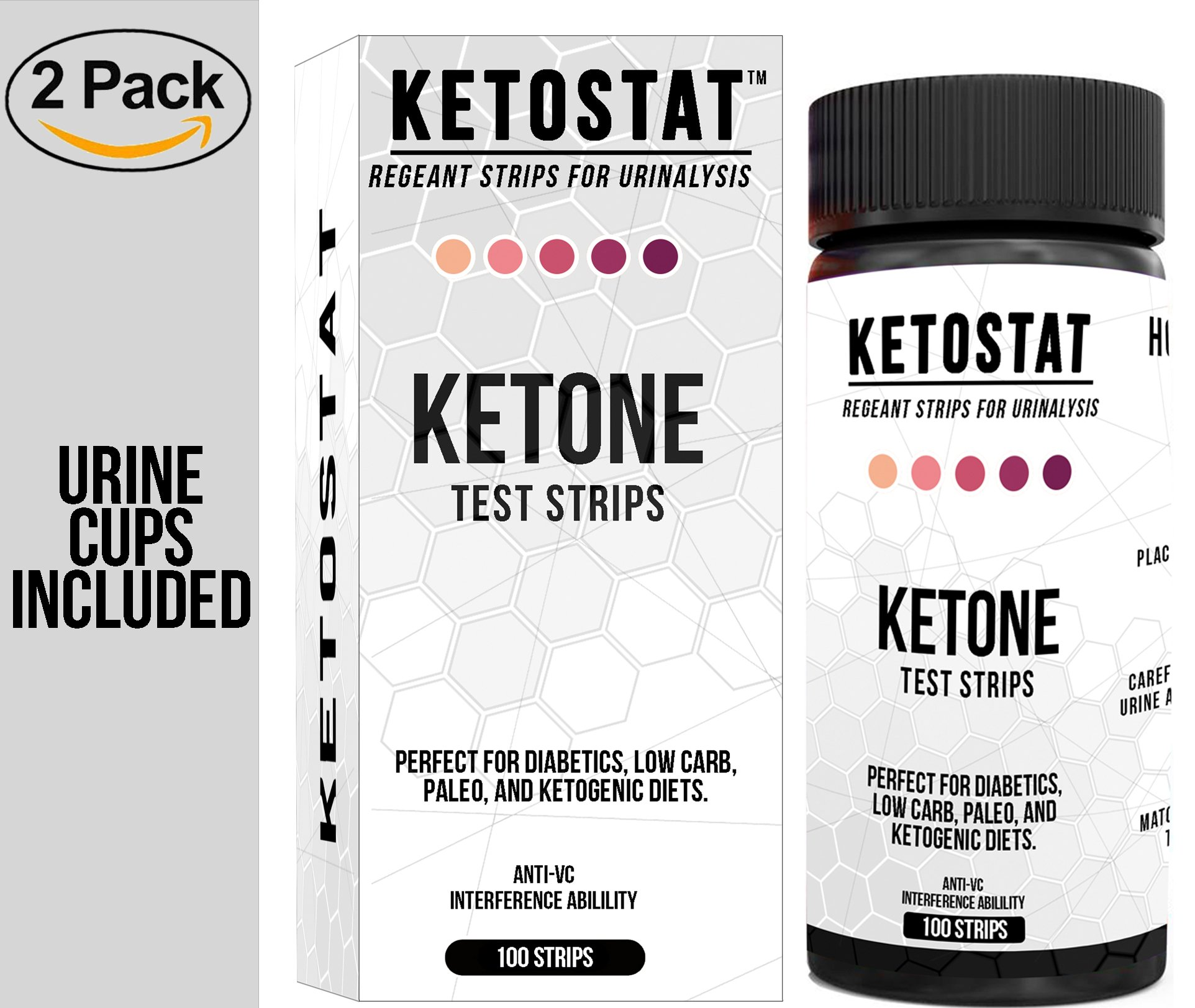 2 Bottles(200ct) Professional Grade Ketone Test Strips to Test Ketosis by Ketostat | for Low Carb, Atkins, Diabetics, and The Ketogenic Diet| Includes Two 100 Keto Test Strip Bottles with 2 Urine Cup