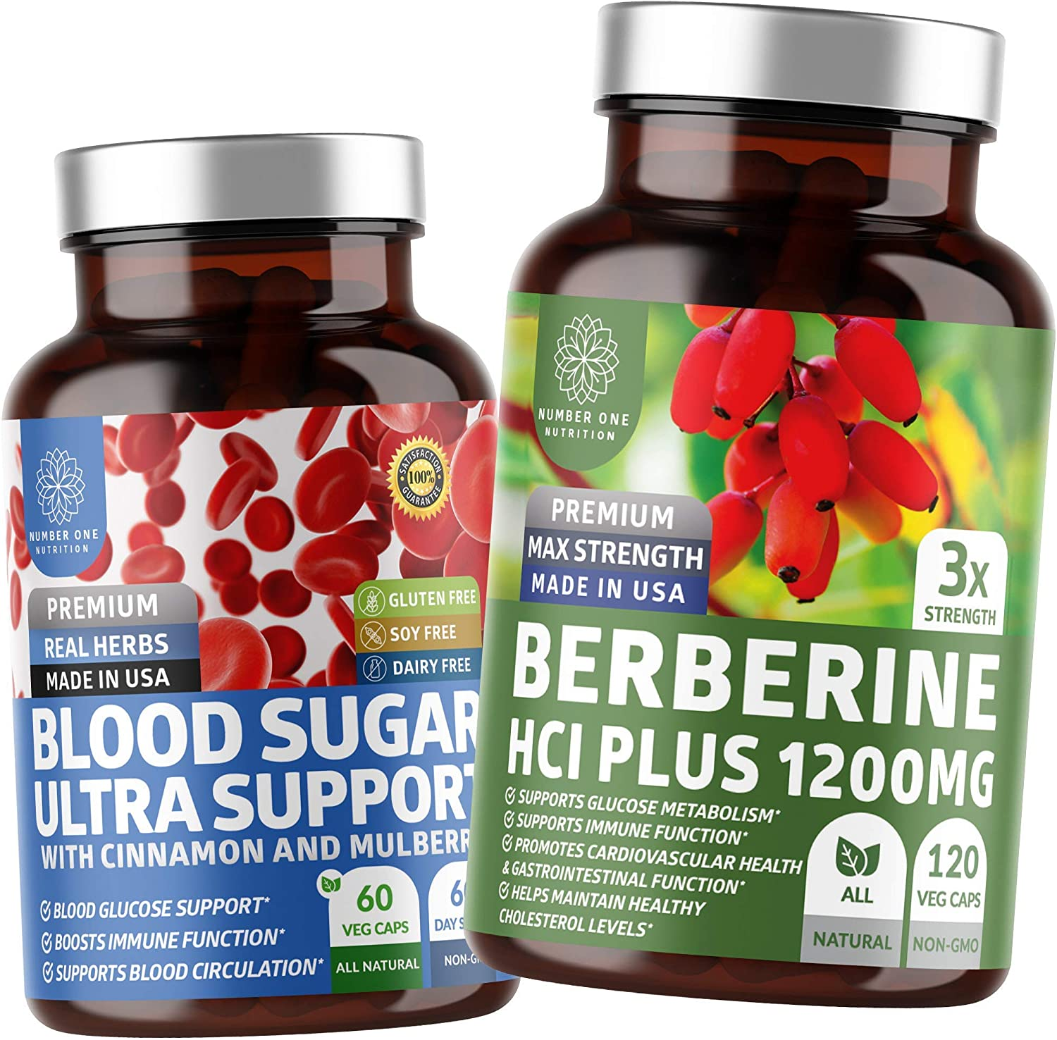 N1N Premium Berberine and Blood Sugar Support, All Natural Supplements for Glucose Metabolism, Weight Loss Management and Heart Health, 2 Pack Bundle
