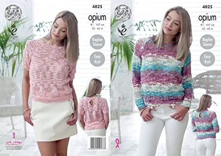 4c05e4740 Image Unavailable. Image not available for. Colour  King Cole 4825 Knitting  Pattern Womens Raglan Sweaters in King Cole Opium