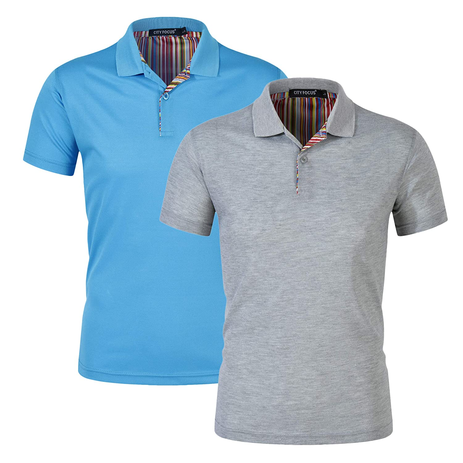 e21769df8 Mens Fashion Polo Shirts Solid Cool Dri-Fit Design Casual Slim Fit ...