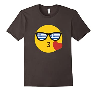 amazon com emoji greece t shirt greek flag sunglasses funny tee