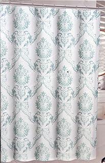 Tahari Chinoisserie Damask Fabric Shower Curtain Green Blue On White