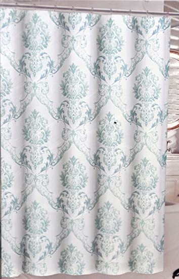 Amazon.com: Tahari Chinoisserie Damask Fabric Shower Curtain Green ...