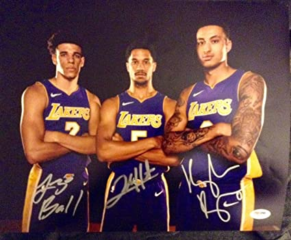 3a9f4289e80 Image Unavailable. Image not available for. Color: Autographed Signed  Memorabilia Lonzo Ball Josh Hart Kyle Kuzma 11x14 Photo Lakers PSA/DNA Dna
