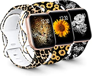 GeekSpark Sport Band Compatible with Apple Watch Bands 38mm 40mm 42mm 44mm for Women Men, Floral Printed Fadeless Pattern Silicone Replacement Strap Band for iwatch SE/Series 6/5/4/3/2/1(3 PACK)
