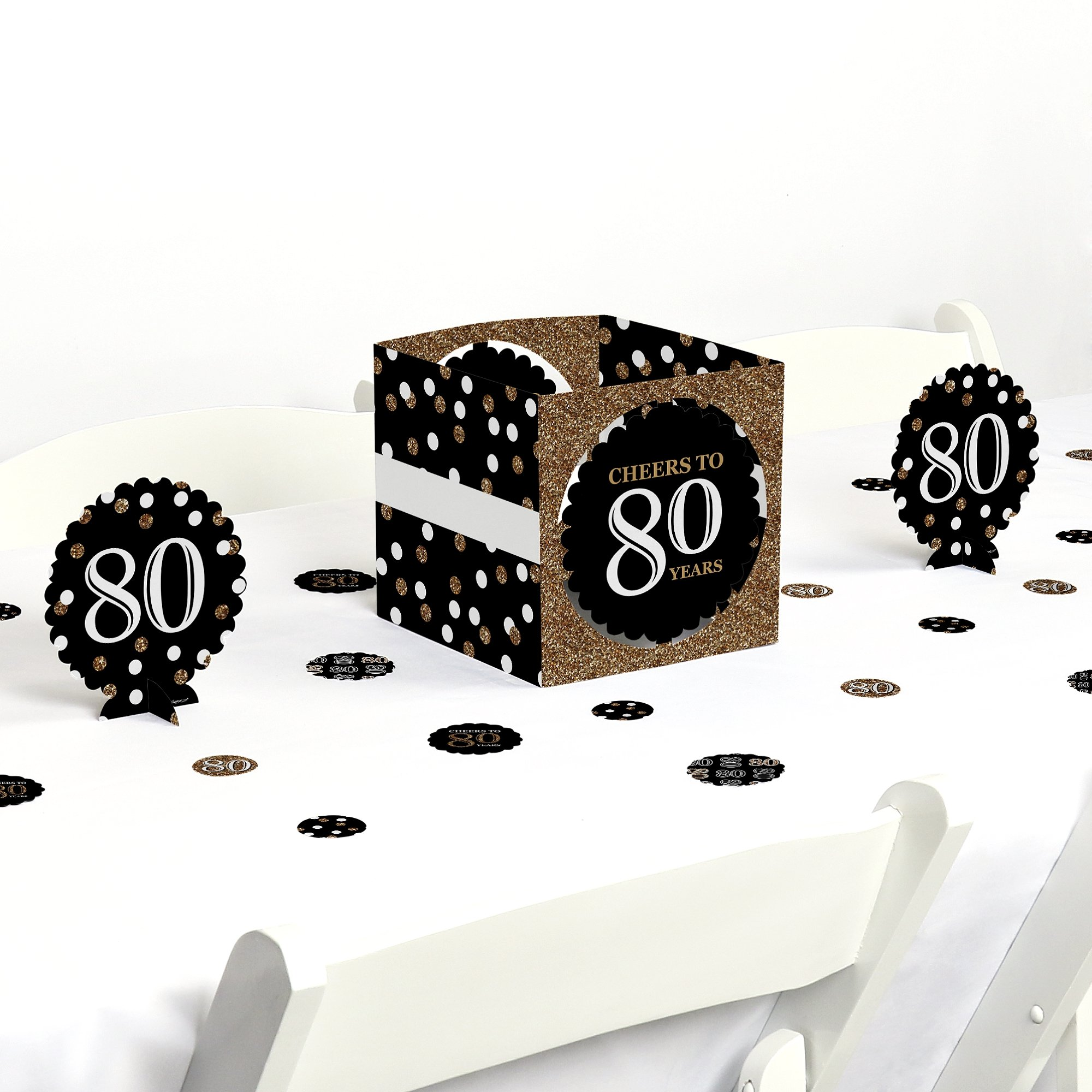 Adult 80th Birthday - Gold - Birthday Party Centerpiece & Table Decoration Kit
