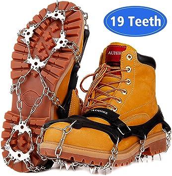 AUHIKE Crampons Neige Antidérapants Dernière Version 19 Dents Crampons avec Joint Anti Fissures, Acier sans Soudure Protection, Crampons pour