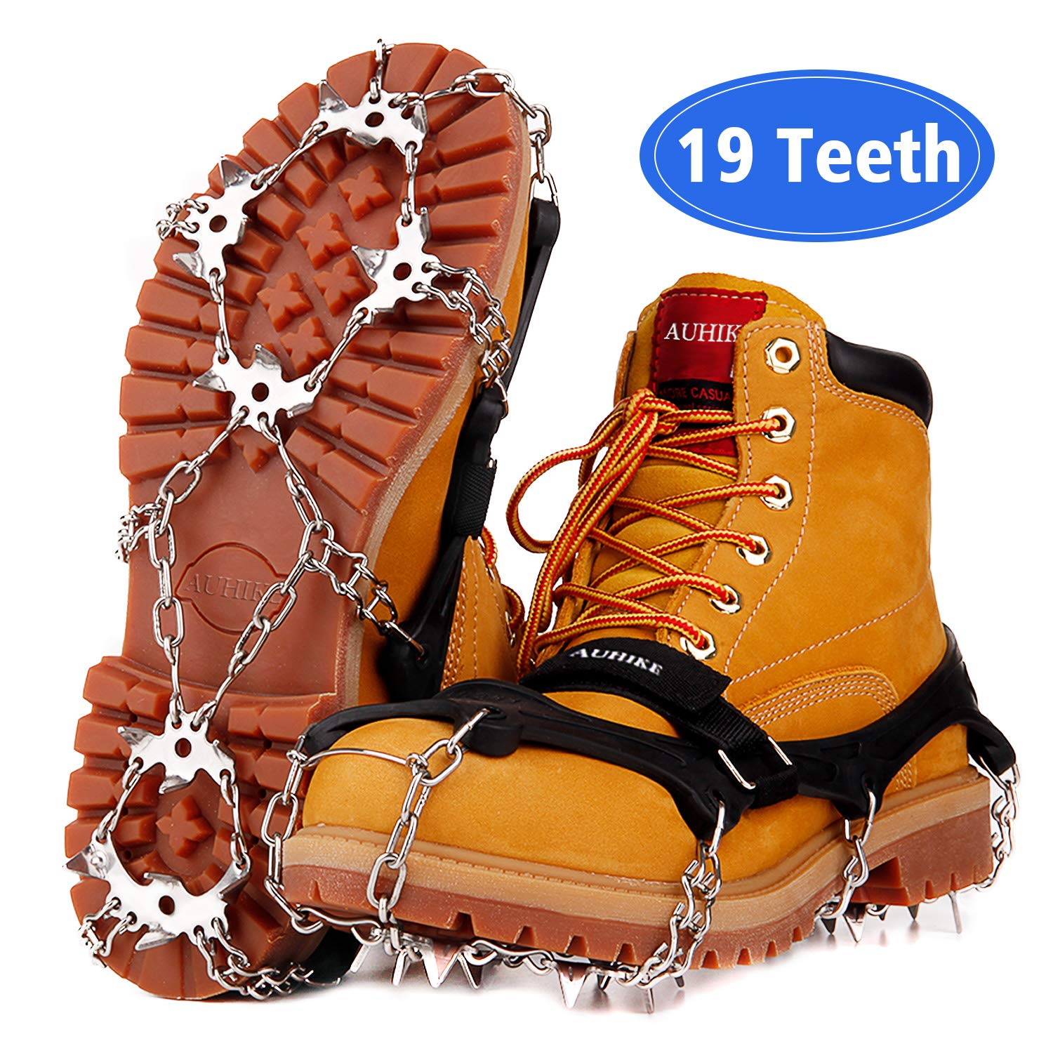 AUHIKE 19 Teeth Claws Crampons [Updated Version],Non-Slip Shoes Cover with Stainless Steel Chain for for Hiking Fishing Climbing Jogging Mountaineering Walking on Snow and Ice (Black, L) by AUHIKE