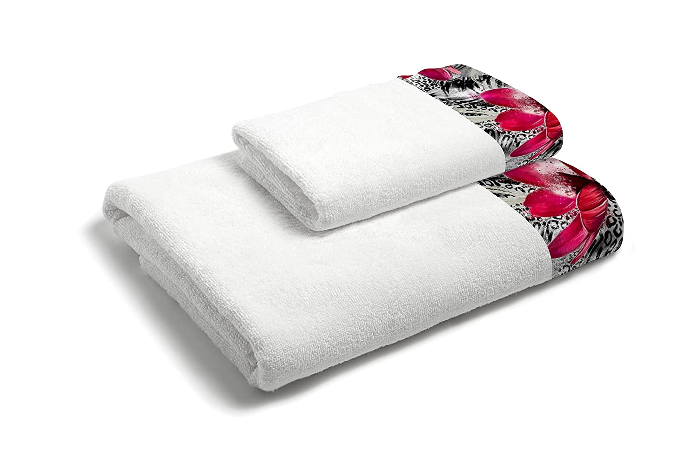 MB Home 1+ 1–mb09Sponge Towel Set, Cotton, White, 40x 60/60x 100cm, 2Units Datex Trade