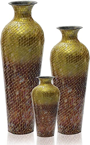 Iron Terracotta Floor Vase with Decorative Glass Mosaic Overlay Ideal Gift for Wedding, Special Occasions, Home Office, Spa, Reiki, Organic, Floral Arrangements Red Ombre, Set of 3