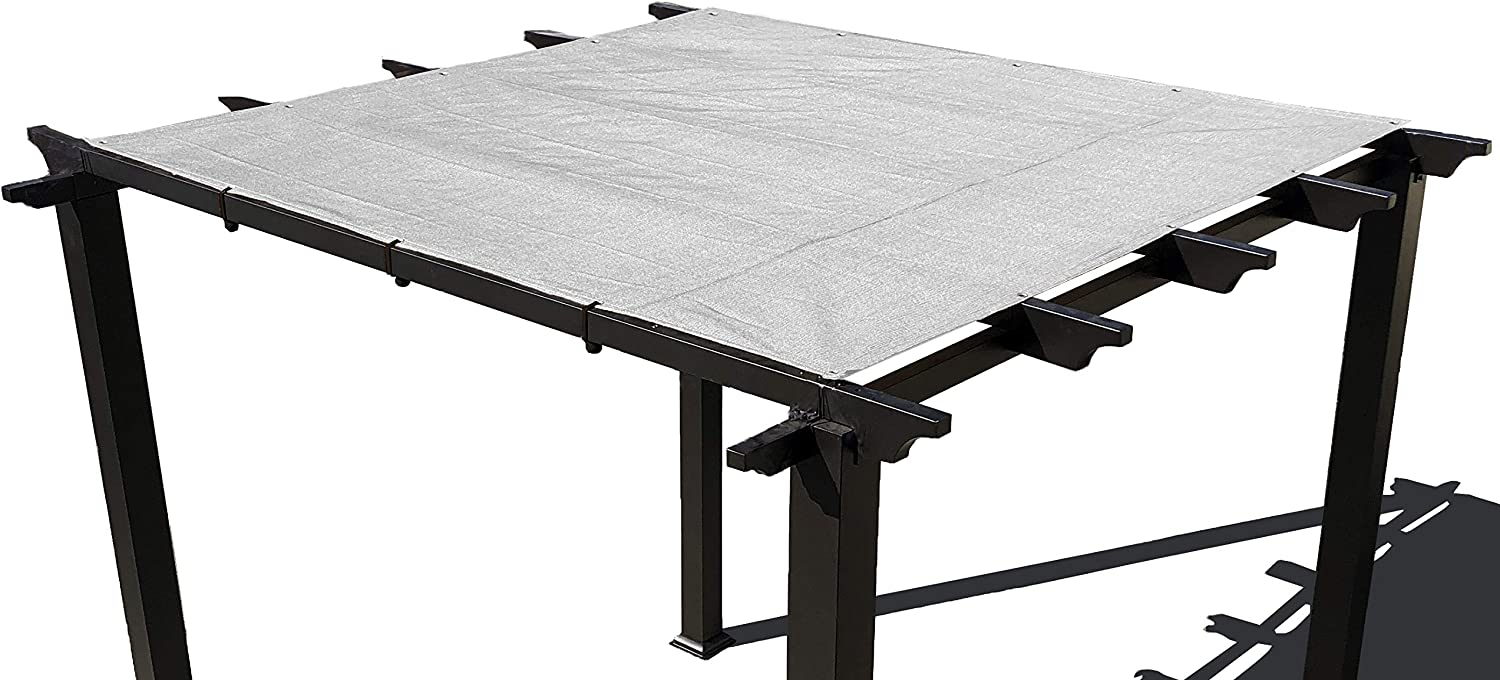 Alion Home Pergola Shade Cover Sunblock Patio Canopy HDPE Permeable Cloth with Grommets (8' x 10', Grey)