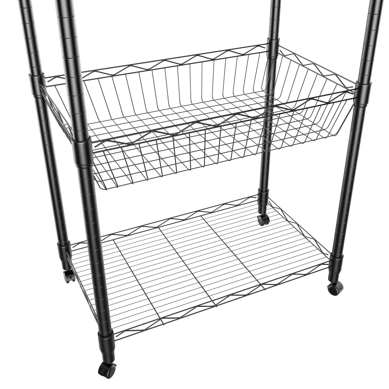 5 Tier Steel Wire Shelving with Wheels, Shelving Storage Organizer Rack for Kitchen Bathroom Balcony Living Room 71inch - Black [US STOCK] by ferty (Image #4)